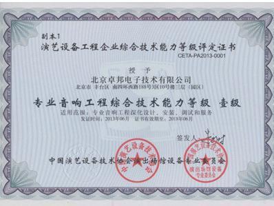 專業燈光工程綜合技術能力二級證書